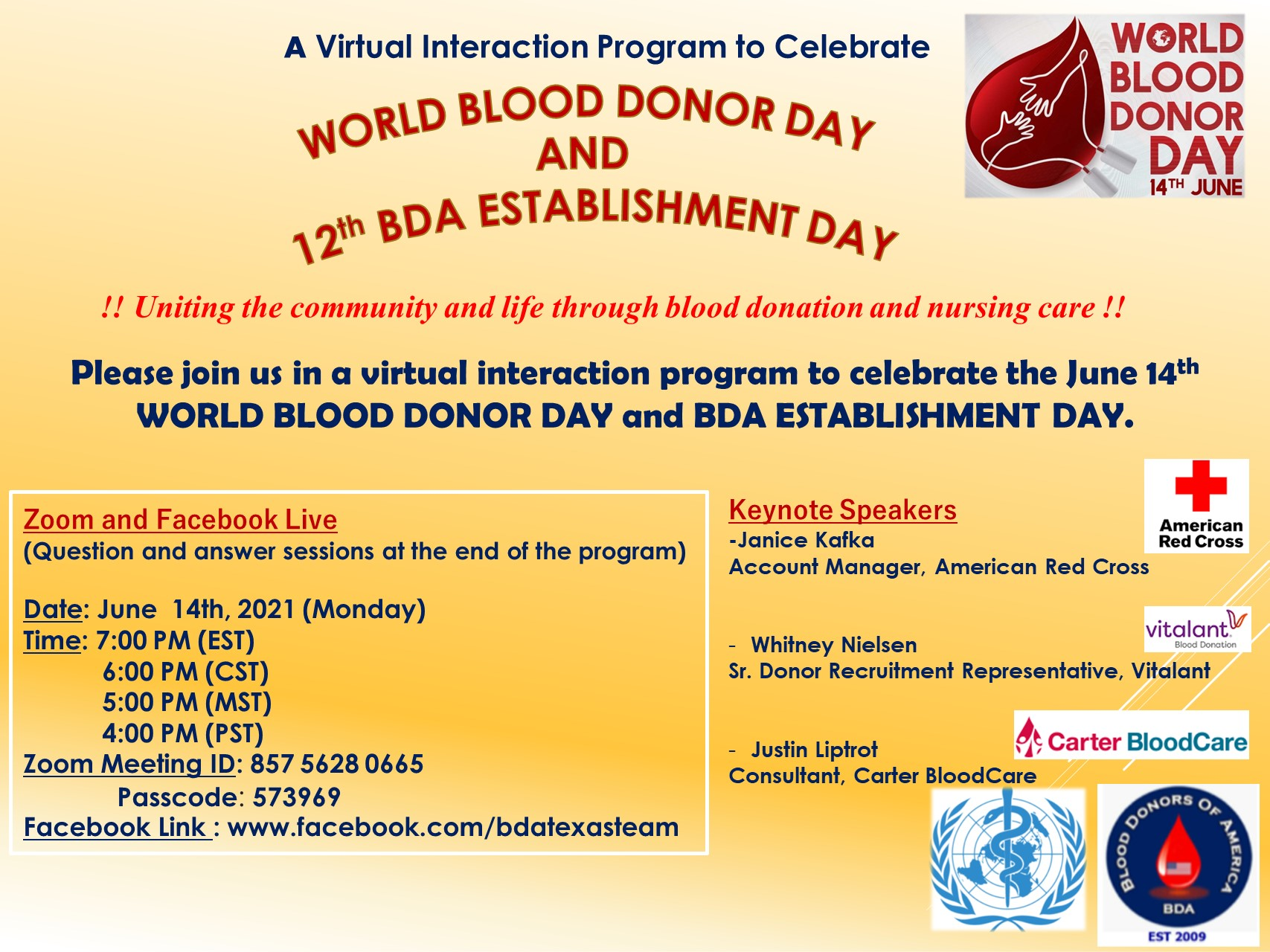 Central - World Blood Donors Day - June 14 2021