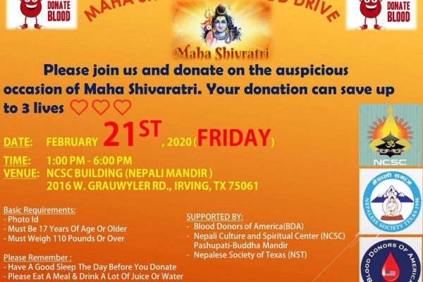 Invitation to Blood Donation at Nepali Mandir, Irving, TX on Shivaratri Day